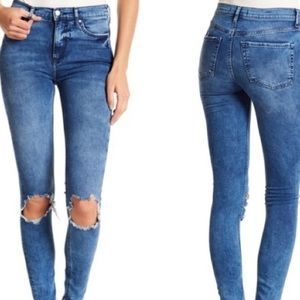 Free People high waisted distressed skinny jeans